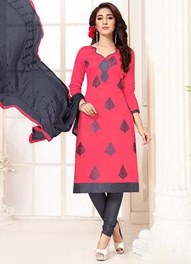 Hot Pink Cotton Churidar Suit