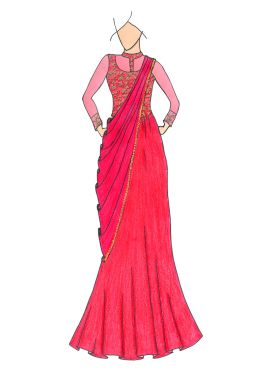 Hot Pink Embroidered Sheer Saree Gown
