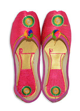 Hot Pink Faux Leather Embroidered Women Jutis
