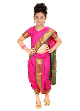 Hot Pink Kids Readymade Nauvari Saree