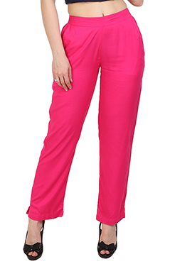 Hot Pink Plain Straight Pant