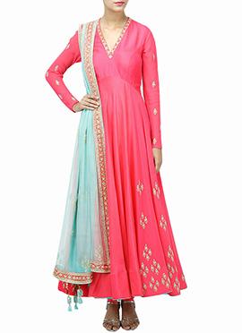 Hot Pink Raw Silk Anarkali Suit
