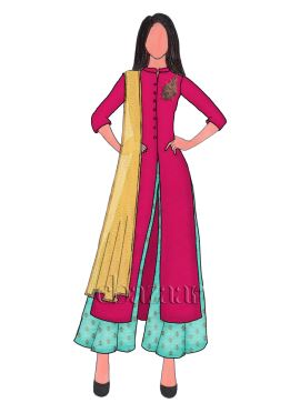 Hot Pink Taffeta Silk Embroidered Flared Palazzo Suit