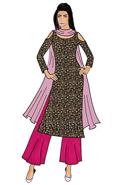 Hot Pink Taffeta Silk Palazzo Suit