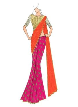 Hot Pink with Orange Mogra Half N Half Saree