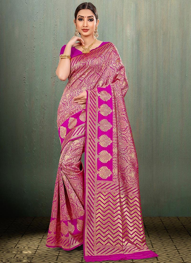 9cdcaaa8da03a6 Buy Hot Pink Zari Woven Art Benarasi Silk Saree, Benarasi , Zari, sari ...