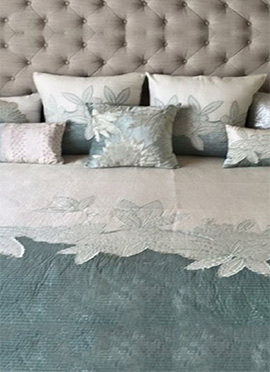 Ice Grey Poly Silk N Velvet Bed Cover