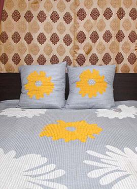 Bluish Grey Satin Blend Bed Cover