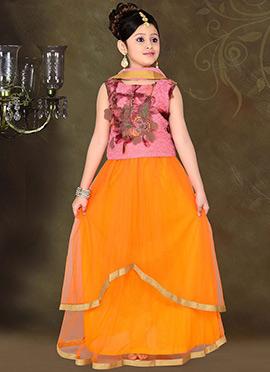 Impressive Orange Teens Lehenga Choli
