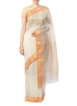 Indian August Cream Pure Chanderi Border Saree