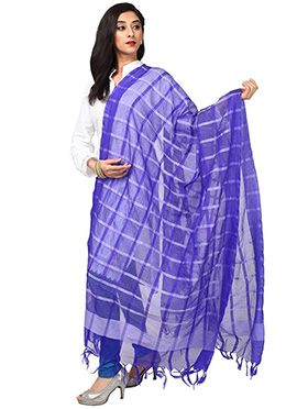 Indigo Blue Benarasi Cotton Dupatta