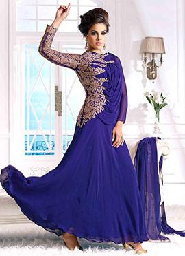 Indigo Blue Georgette Anarkali Gown