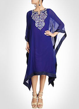 Indigo Blue Georgette Kaftan Dress