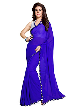 Indigo Blue Georgette Tikki Worked Border Saree