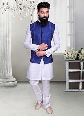 Indigo Blue Linen Nehru Jacket