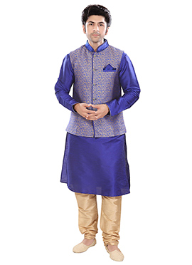 Indigo Blue N Beige Poly Silk Nehru Set