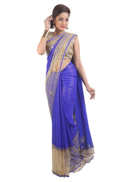 Indigo Blue N Cream handwork Saree