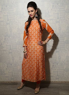 Iraz Cotton Orange Printed Long Kurti