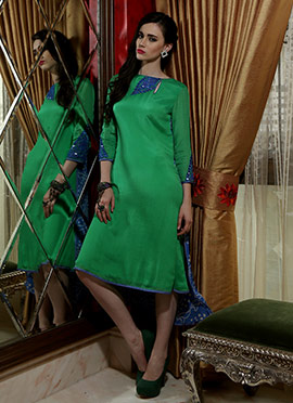 Iraz Green Mirror Enhanced Kurti