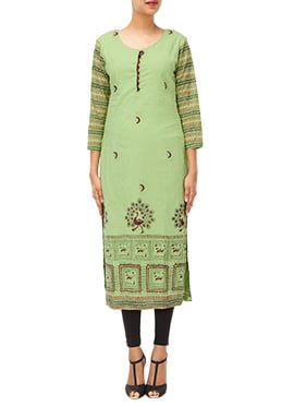 Iraz Light Green Printed Long Kurti
