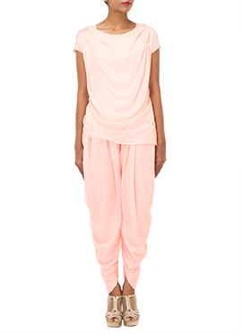 IRAZ Light Pink Art Georgette Dhoti Set