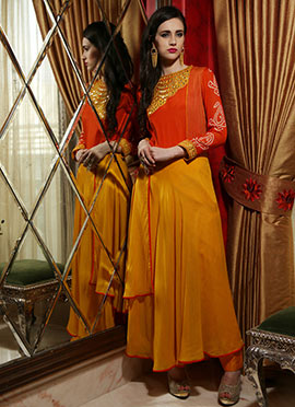 Iraz Mustard N Orange Anarkali Kurti