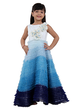 Ivory Blue Tafetta Net Kids Gown