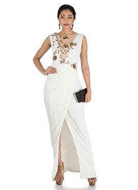 Ivory Drape Cocktail Dress