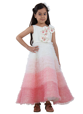 Ivory Pink Tafetta Net Kids Gown