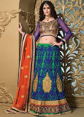 Izabelle Leite Green N Blue Silk Lehenga Choli