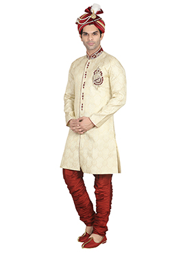 Jacquard Cream Breeches Style Sherwani