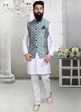 Jacquard Geometric Designed Off White Nehru Jacket