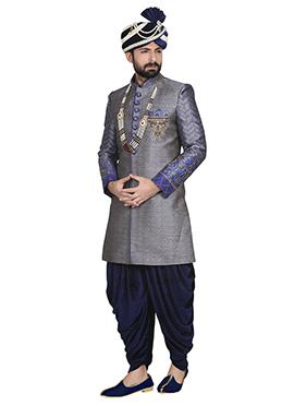 Jacquard Grey Dhoti Style Sherwani