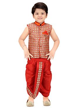 Jacquard Multicolored Kids Dhoti Kurta Set