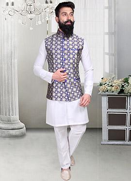 Jacquard Off White Geometric Designed Nehru Jacket