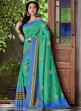 Jade Green Bhagalpuri Art Silk Embroidered Saree