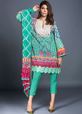 Jade Green Cotton Straight Pant Suit