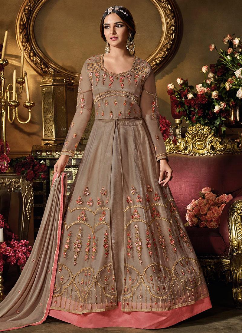 f7394a793b Buy Jasmin Bhasin Light Brown Net Anarkali Suit, Embroidered ...