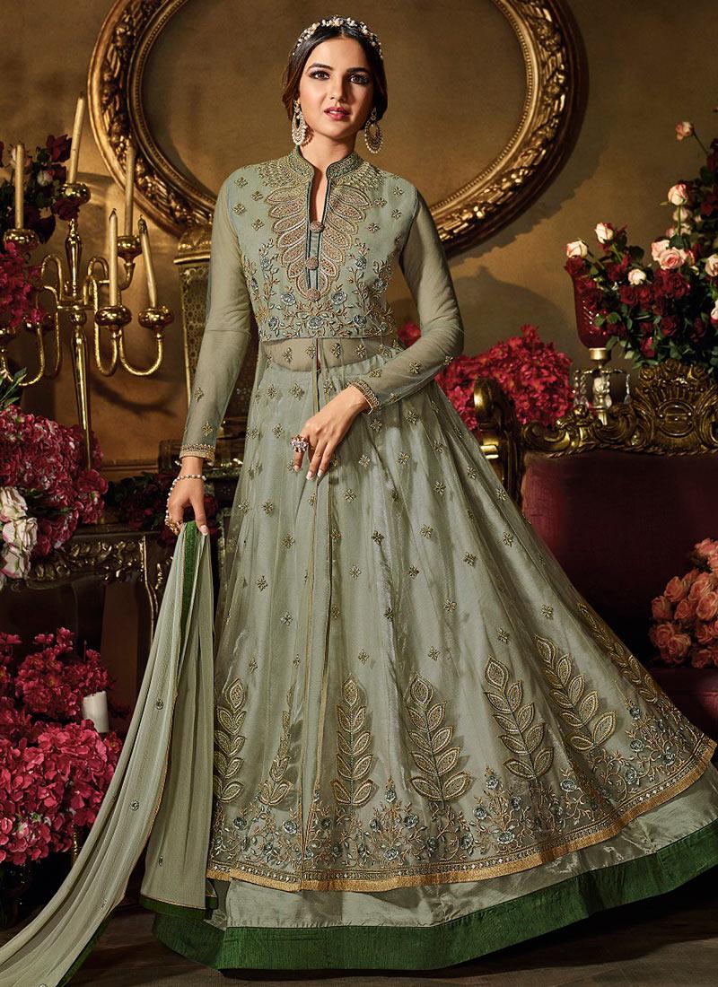 a2aedd3e65 Buy Jasmin Bhasin Light Green Net Anarkali Suit, Embroidered ...