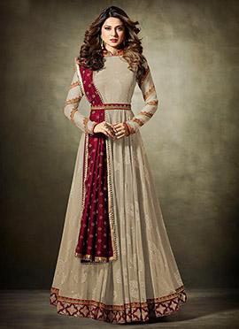 Jennifer Winget Beige Abaya Style Anarkali Suit