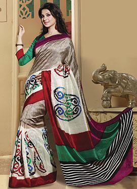 Jennifer Winget Beige N Cream Bhagalpuri Art Silk Saree