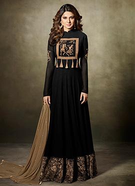 Jennifer Winget Black Abaya Style Anarkali Suit