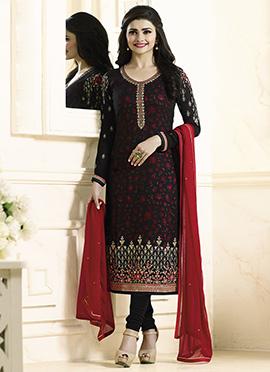 Prachi Desai Black N Pink Straight Suit