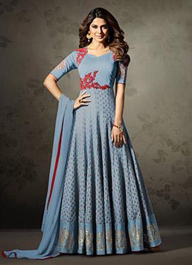 Jennifer Winget Blue Abaya Style Anarkali Suit