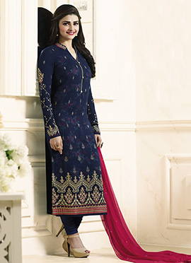 Prachi Desai Blue Georgette Straight Suit