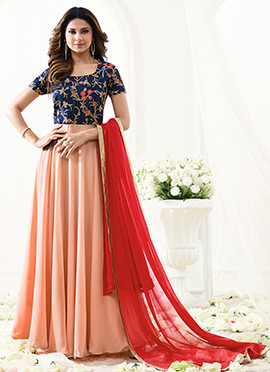 Jennifer Winget Blue N Peach Georgette Anarkali su