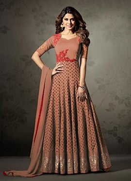 Jennifer Winget Brown Abaya Style Anarkali Suit