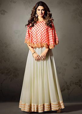 Jennifer Winget Cream Abaya Style Anarkali Suit