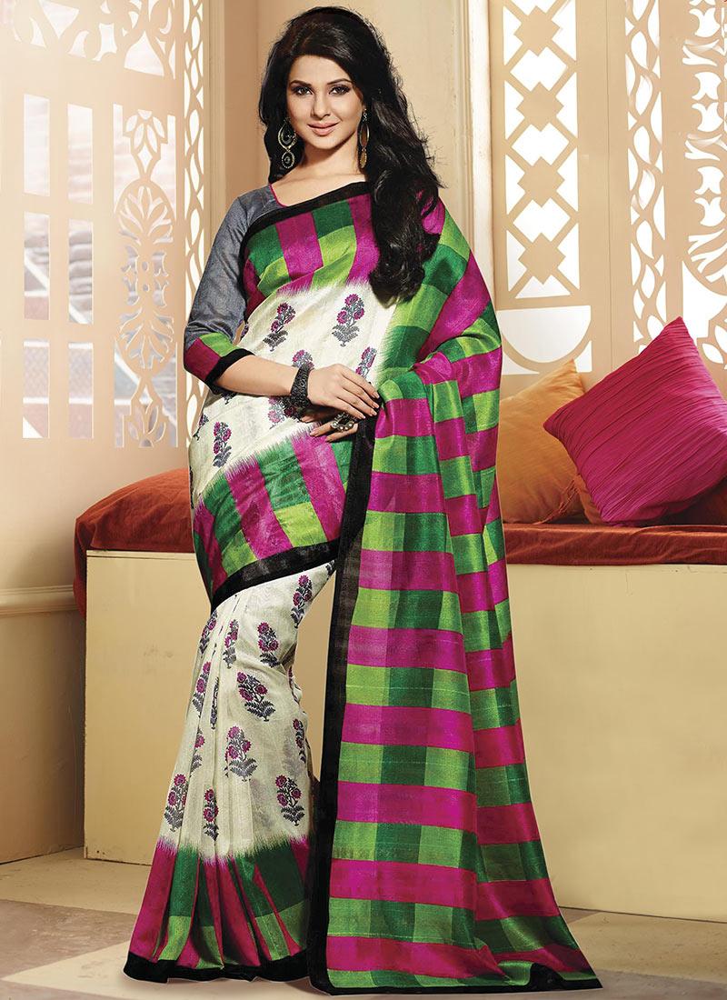 Buy Jennifer Winget Cream Bhagalpuri Art Silk Saree, sari ...
