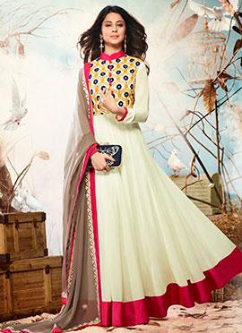 Jennifer Winget Cream Embroidered Anarkali Suit
